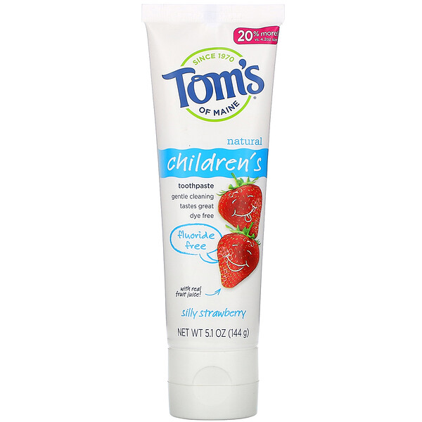 Tom's of Maine Natural Children's Toothpaste Fluoride-Free Silly Strawberry 5.1 oz (144 g)