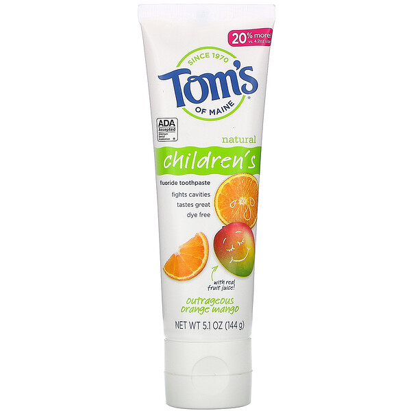 Tom's of Maine Natural Children's Fluoride Toothpaste Outrageous Orange Mango 5.1 oz (144 g)