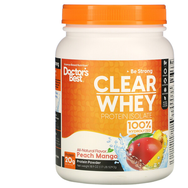 Doctor's Best Clear Whey Protein Isolate Peach Mango 1.2 lbs (546 g)