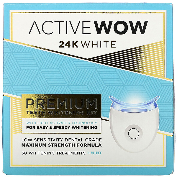 Active Wow 24K White Premium Teeth Whitening Kit + Mint 30 Treatments