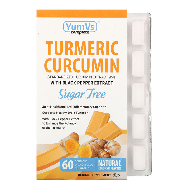 YumV's Turmeric Curcumin Orange Falvor 60 Chewables