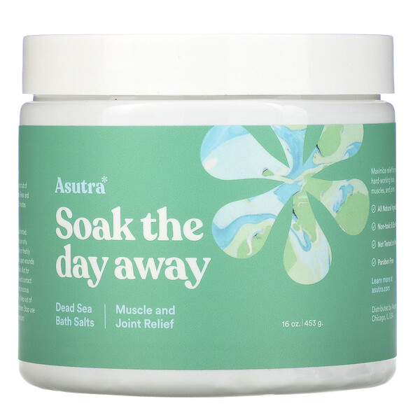 Asutra Soak The Day Away Dead Sea Bath Salts Muscle & Joint Relief 16 oz (453 g)