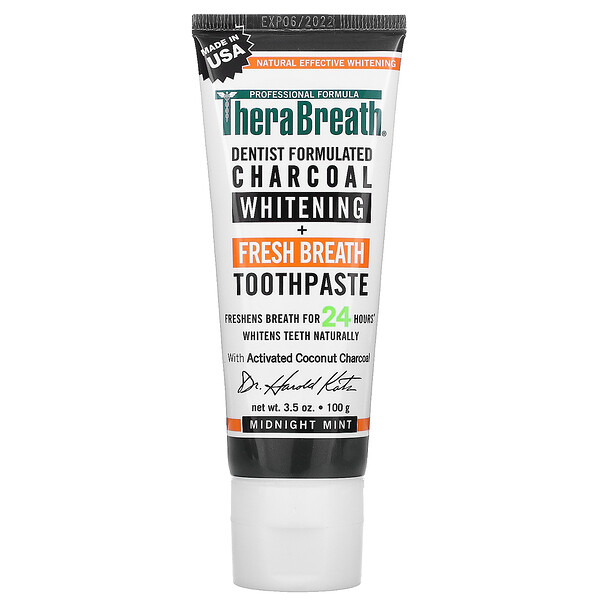 TheraBreath Charcoal Whitening + Fresh Breath Toothpaste Midnight Mint 3.5 oz (100 g)